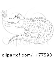 Cartoon Of An Outlined Butterfly On A Crocodiles Nose Royalty Free Vector Clipart by Alex Bannykh