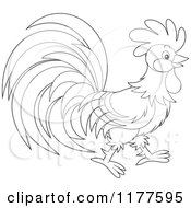 Cartoon Of A Black And White Rooster In Profile Royalty Free Vector Clipart by Alex Bannykh
