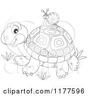 Cartoon Of A Black And White Snail Riding On A Cute Tortoise Royalty Free Vector Clipart