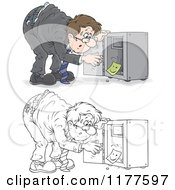 Poster, Art Print Of Colored And Outlined Stressed Man Discovering That His Vault Has Been Emptied