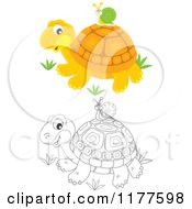 Cartoon Of A Black And White And Colored Snail Riding On A Cute Tortoise Royalty Free Vector Clipart