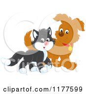 Cartoon Of A Cute Tuxedo Cat And Puppy Walking Royalty Free Vector Clipart by Alex Bannykh