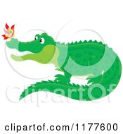 Cartoon Of A Butterfly On A Crocodiles Nose Royalty Free Vector Clipart