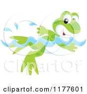 Cartoon Of A Cute Frog Swimming Royalty Free Vector Clipart by Alex Bannykh