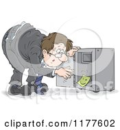 Cartoon Of A Stressed Man Discovering That His Vault Has Been Emptied Royalty Free Vector Clipart by Alex Bannykh