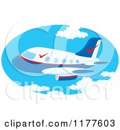Cartoon Of A Commercial Airliner Jet In The Sky Royalty Free Vector Clipart by Alex Bannykh