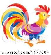 Cartoon Of A Colorful Rooster In Profile Royalty Free Vector Clipart