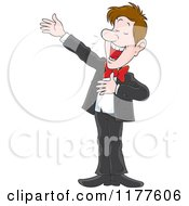 Cartoon Of A Male Opera Singer Performing Royalty Free Vector Clipart