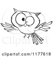 Cartoon Of An Outlined An Outlined Cross Eyed Owl Royalty Free Vector Clipart by toonaday