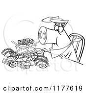 Cartoon Of An Outlined An Outlined Pigging Out Hog With Junk Food Royalty Free Vector Clipart