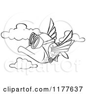 Cartoon Of An Outlined An Outlined Pilot Fish Flying Royalty Free Vector Clipart