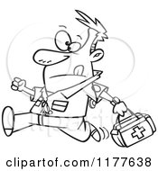 Cartoon Of An Outlined An Outlined Running Male EMT With A First Aid Kit Royalty Free Vector Clipart