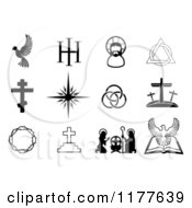 Clipart Of Black And White Christian Symbols Royalty Free Vector Illustration