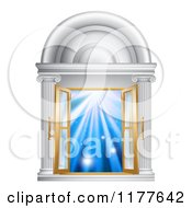 Clipart Of An Open French Doors In A Marble Doorway With Blue Light Royalty Free Vector Illustration by AtStockIllustration