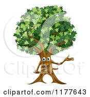 Cartoon Of A Happy Ent Tree Presenting Royalty Free Vector Clipart by AtStockIllustration