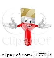 Cartoon Of A Happy Red Paintbrush Mascot Royalty Free Vector Clipart