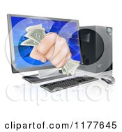 Clipart Of A Fist With Cash Bursting Through A Computer Screen Royalty Free Vector Illustration by AtStockIllustration