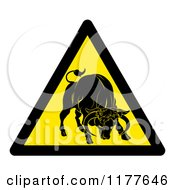 Clipart Of A Yellow Caution Bull Sign Royalty Free Vector Illustration