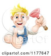 Cartoon Of A Happy Plumber Holding A Plunger And A Thumb Up Royalty Free Vector Clipart by AtStockIllustration