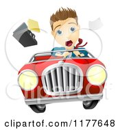 Cartoon Of A Man Losing Control Of A Car Royalty Free Vector Clipart by AtStockIllustration