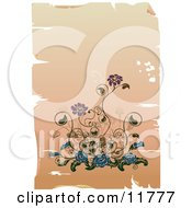 Elegant Purple And Blue Flowers On A Worn Background Clipart Illustration