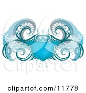 Blue Grunge Shield Design Element Clipart Illustration
