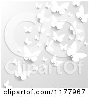 Clipart Of A Gray Background With White Butterflies Wna Shadows Royalty Free Vector Illustration by vectorace
