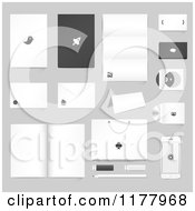 Clipart Of Corporate Identity Stationery Software And Electronics On Gray Royalty Free Vector Illustration by vectorace