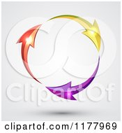 Clipart Of A Circle Of Yellow Purple And Red Arrows With Glowing Orbs On Gray Royalty Free Vector Illustration