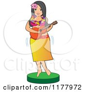 Cartoon Of A Hawaiian Hula Girl Playing A Guitar Royalty Free Vector Clipart