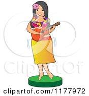 Hawaiian Hula Girl Playing A Guitar