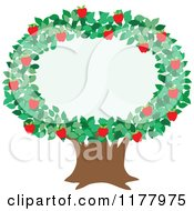 Cartoon Of An Apple Tree With A Foliage Frame Royalty Free Vector Clipart by Maria Bell