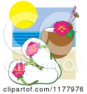 Cartoon Of Hibiscus Flip Flops With A Coconut Drink On A Beach Royalty Free Vector Clipart