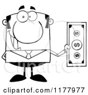 Cartoon Of A Black And White Businessman Holding A Dollar Bill Royalty Free Vector Clipart