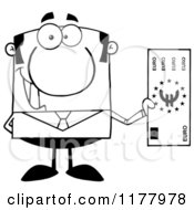Cartoon Of A Black And White Businessman Holding A Euro Bill Royalty Free Vector Clipart
