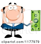 Cartoon Of A Caucasian Businessman Holding A Dollar Bill Royalty Free Vector Clipart by Hit Toon