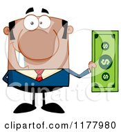 Cartoon Of A Black Businessman Holding A Dollar Bill Royalty Free Vector Clipart by Hit Toon