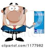 Cartoon Of A Black Businessman Holding A Euro Bill Royalty Free Vector Clipart