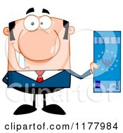 Cartoon Of A White Businessman Holding A Euro Bill Royalty Free Vector Clipart
