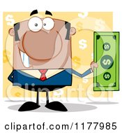 Cartoon Of An African American Businessman Holding A Dollar Bill Over Yellow Royalty Free Vector Clipart