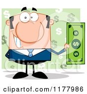 Cartoon Of A White Businessman Holding A Dollar Bill Over Green Royalty Free Vector Clipart