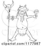 Cartoon Of An Outlined Tribal Head Hunter Man Holding A Maraca And A Skull On A Stick Royalty Free Vector Clipart by djart