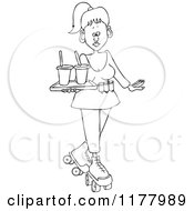 Cartoon Of An Outlined Roller Skating Carhop Waitress With Drinks On A Tray Royalty Free Vector Clipart