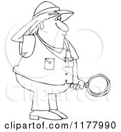 Cartoon Of An Outlined Safari Man Holding A Magnifying Glass Royalty Free Vector Clipart