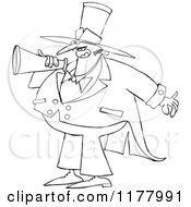 Outlined Chubby Male Circus Ringmaster Announcing Through A Megaphone