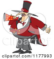 Cartoon Of A Chubby Male Circus Ringmaster Announcing Through A Megaphone Royalty Free Vector Clipart