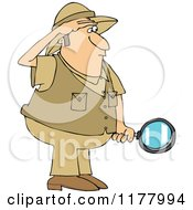 Cartoon Of A Safari Man Holding A Magnifying Glass Royalty Free Vector Clipart