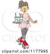 Cartoon Of A Roller Skating Carhop Waitress With Drinks On A Tray Royalty Free Vector Clipart by Dennis Cox