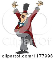 Cartoon Of An Enthusiastic Circus Ringmaster Man Holding His Arms Up Royalty Free Vector Clipart by djart
