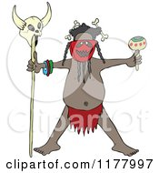 Cartoon Of A Tribal Head Hunter Man Holding A Maraca And A Skull On A Stick Royalty Free Vector Clipart by djart